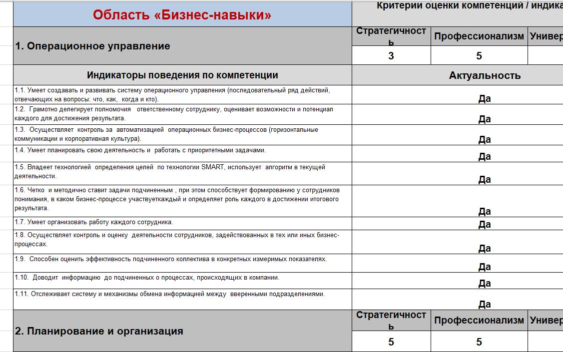 Ролевая модель и анкета управленческих компетенций (HR, управление персоналом)